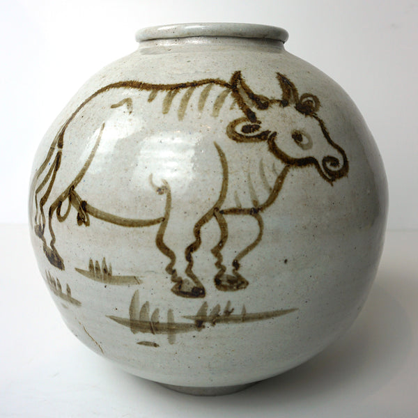 White Porcelain Jar with Iron Ox Painting from Chosun Dynasty