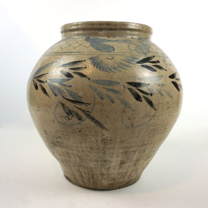 Large White Porcelain Jar with Blue and Black Painting from Chosun Dynasty