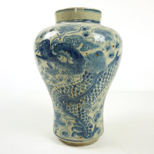 White Porcealin Vase with Blue Dragon Design Vase from Chosun Dynasty