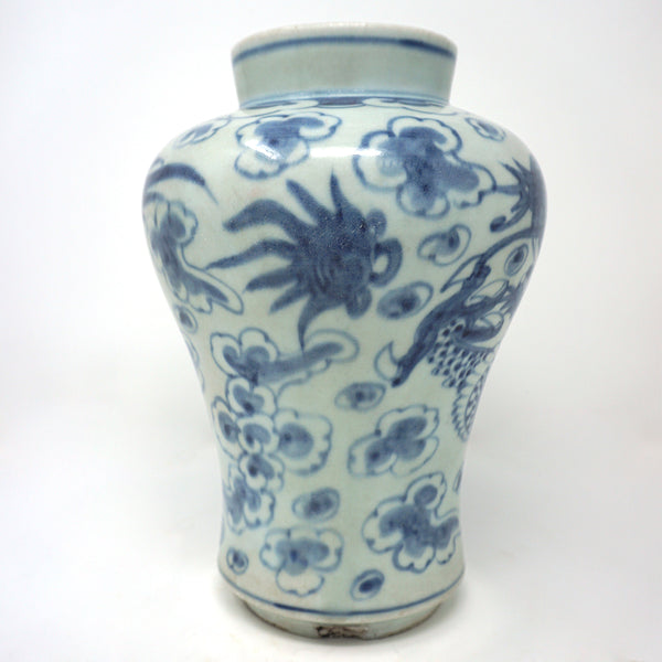 White Porcelain With Blue Dragon Design Vase from Chosun Dynasty
