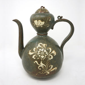 Dark Green Porcelain Kettle with Inlaid Flower and Butterfly Design from Koryo Dynasty