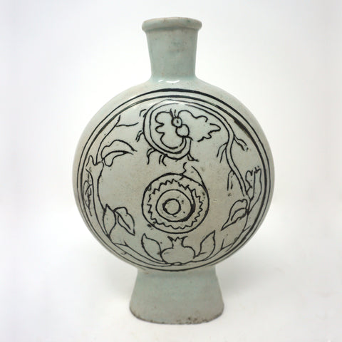 15th Century White Porcelain Flat Bottle Vase with Abstract Carved Flower Design