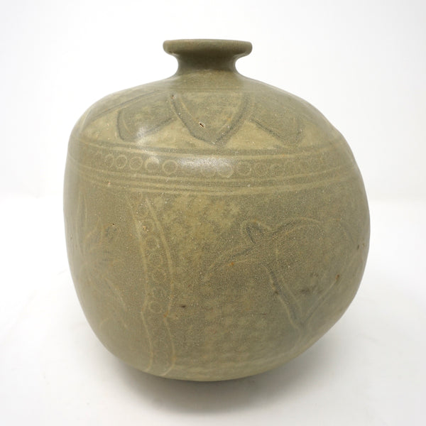 Bunchung Flat Bottle Vase with Inlaid Flower Design from Chosun Dynasty
