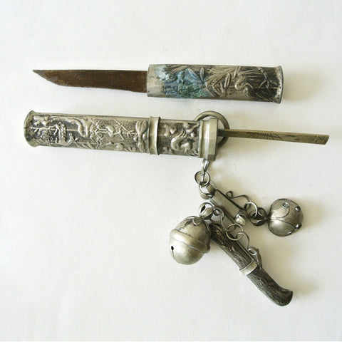 "Korean ""Eunjangdo"" Dagger with Floral Carving and Three Pendants"