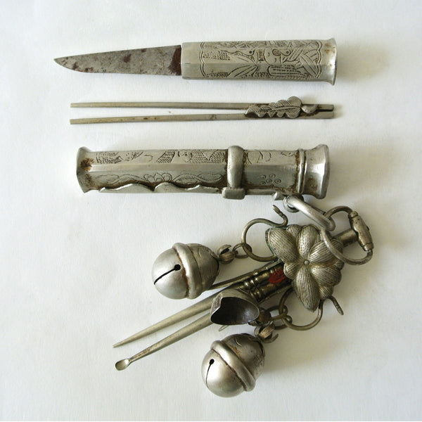 "Korean ""Eunjangdo"" Dagger with Floral Carving and Various Pendants"