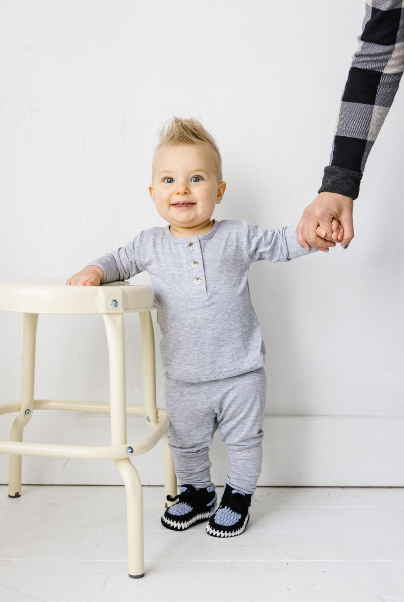 Space Grey Top + Bottoms - Our Little Kicks