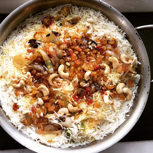 Hyderabadi Vegetarian Biryani with Tart Dried Cherries