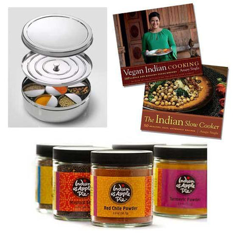 Indian cookbooks, spices, and Tiffin Spice box kit from Anupy Singla at Indian As Apple Pie