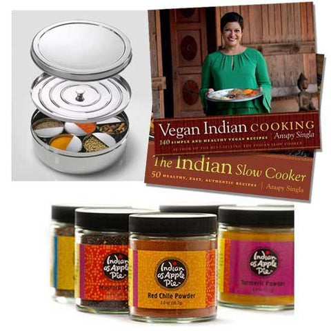 Vegan Indian Recipe Cookbook or Indian Slow Cooker Cookbook with Spice Tiffin Box and Starter Spices