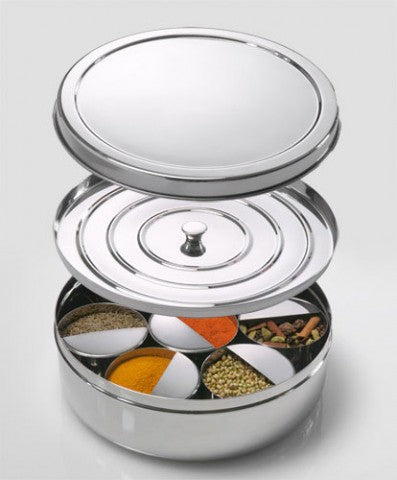 Spice Box: Stainless steel masala dabba holds Indian spice, seasoning