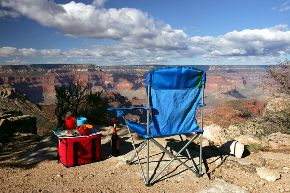 camping gear overlooking canyon