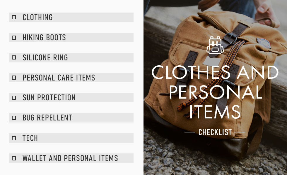 clothes and personal items checklist graphic