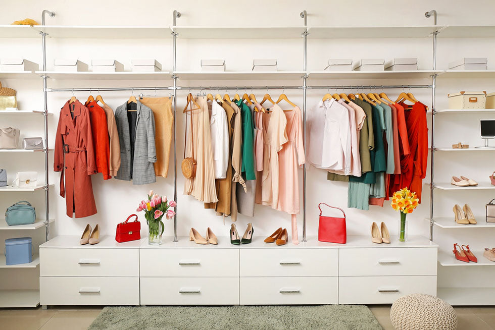 clothing and accessories in bright closet