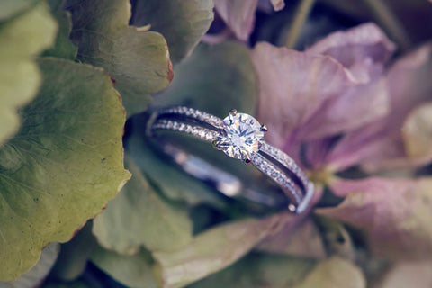 engagement ring on natural background