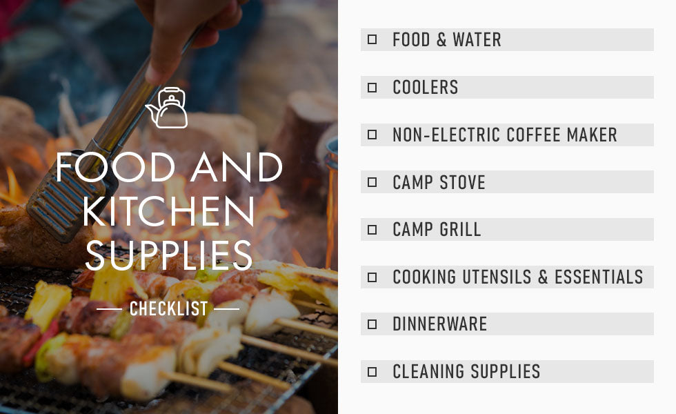 food and kitchen supplies checklist graphic