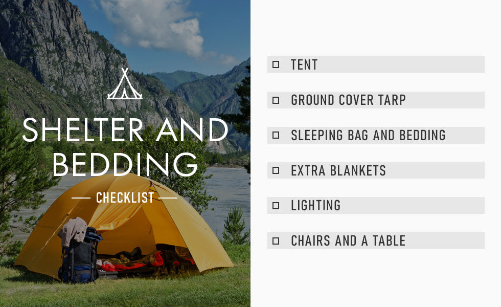 shelter and bedding checklist graphic