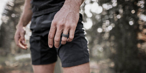 closeup of runner wearing silicone ring
