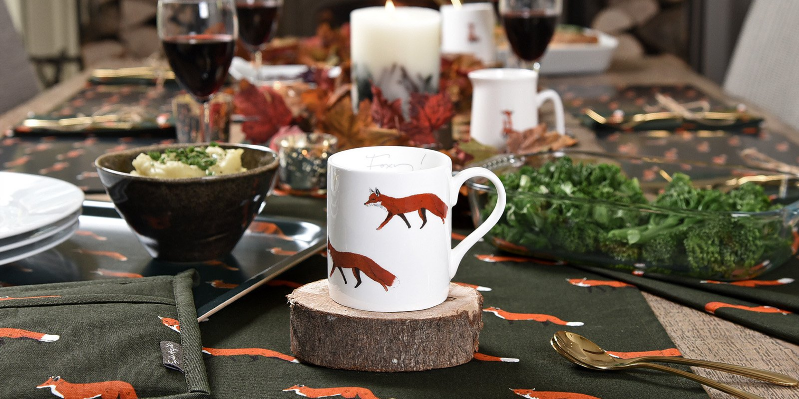 Foxes Forest Green and Burnt Orange Homewares and Accessories by Sophie Allport