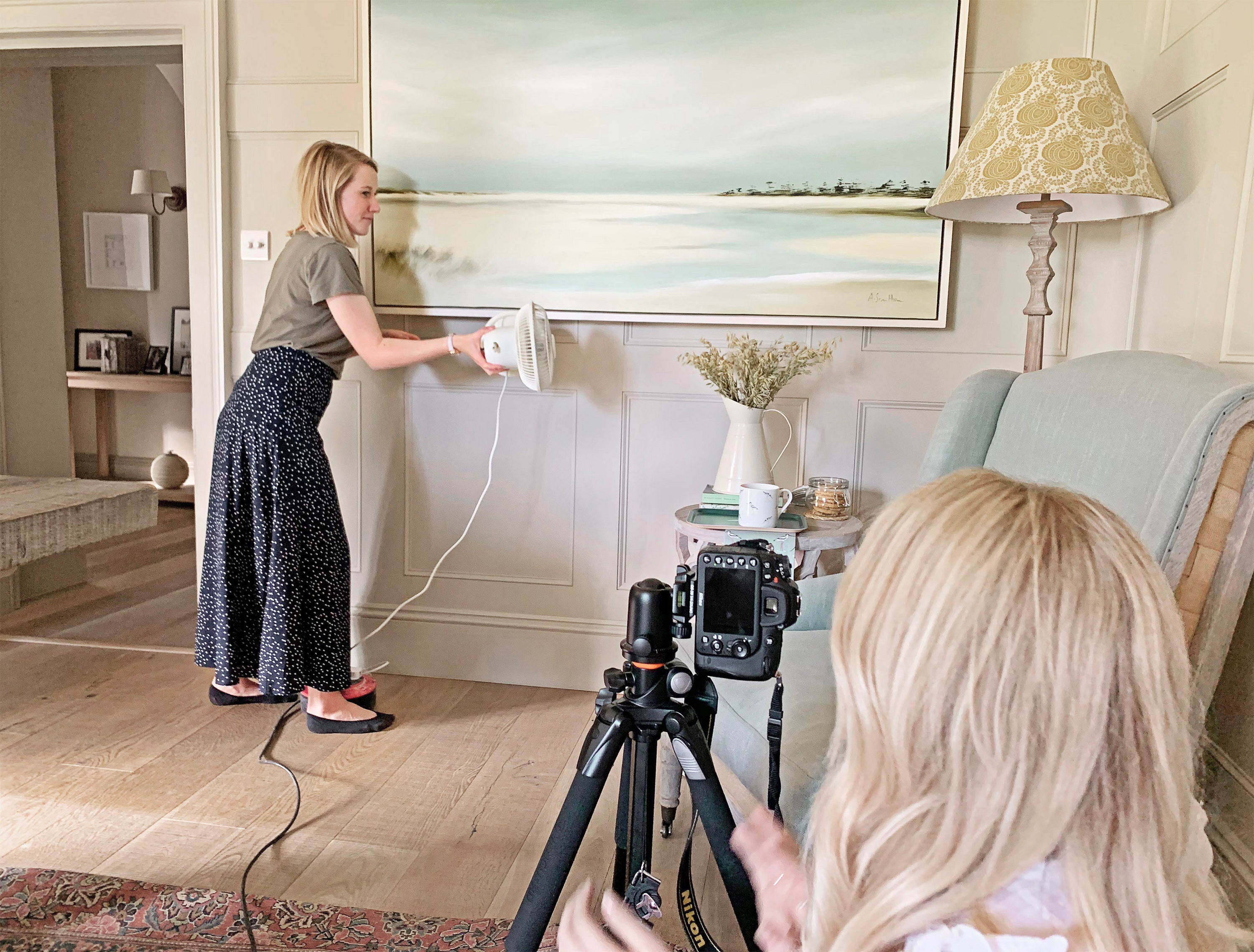 Using Sophie's fan to capture beautiful shots of Sophie's new coastal collection