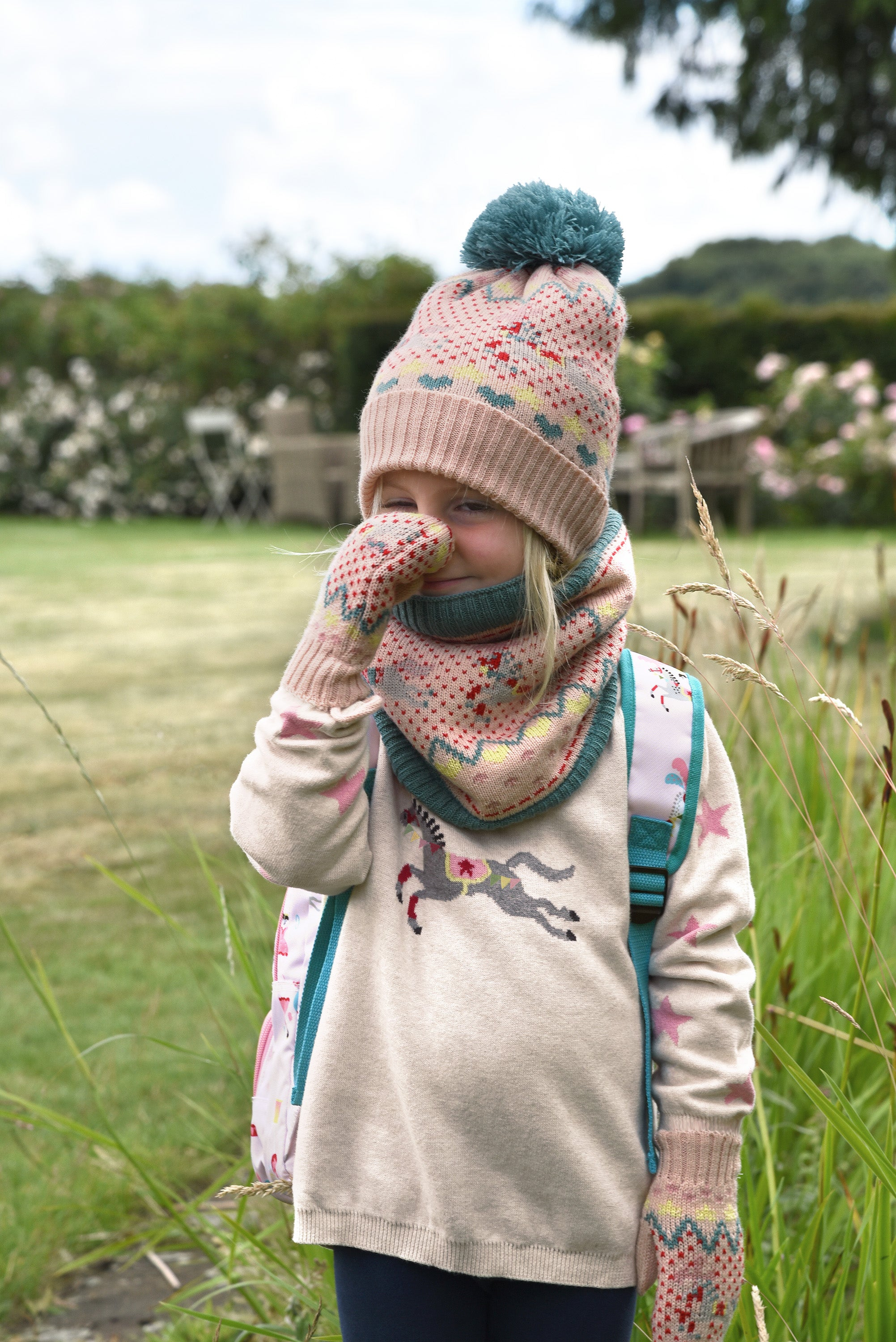Fairground Knitwear, hat, scarf, mittens and jumper by Sophie Allport