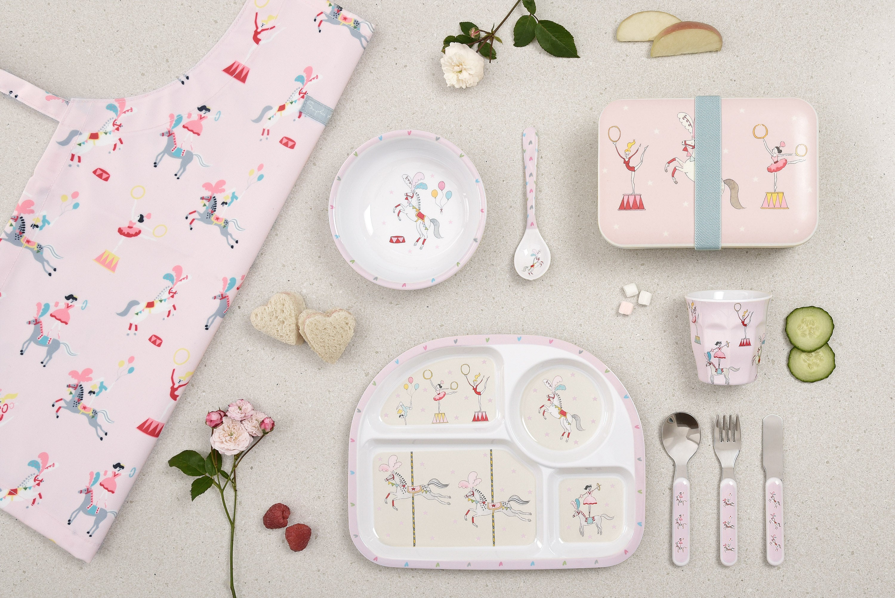 Kids apron and mealtime by Sophie Allport with melamine plate, bowl, beaker, lunch box and spoon