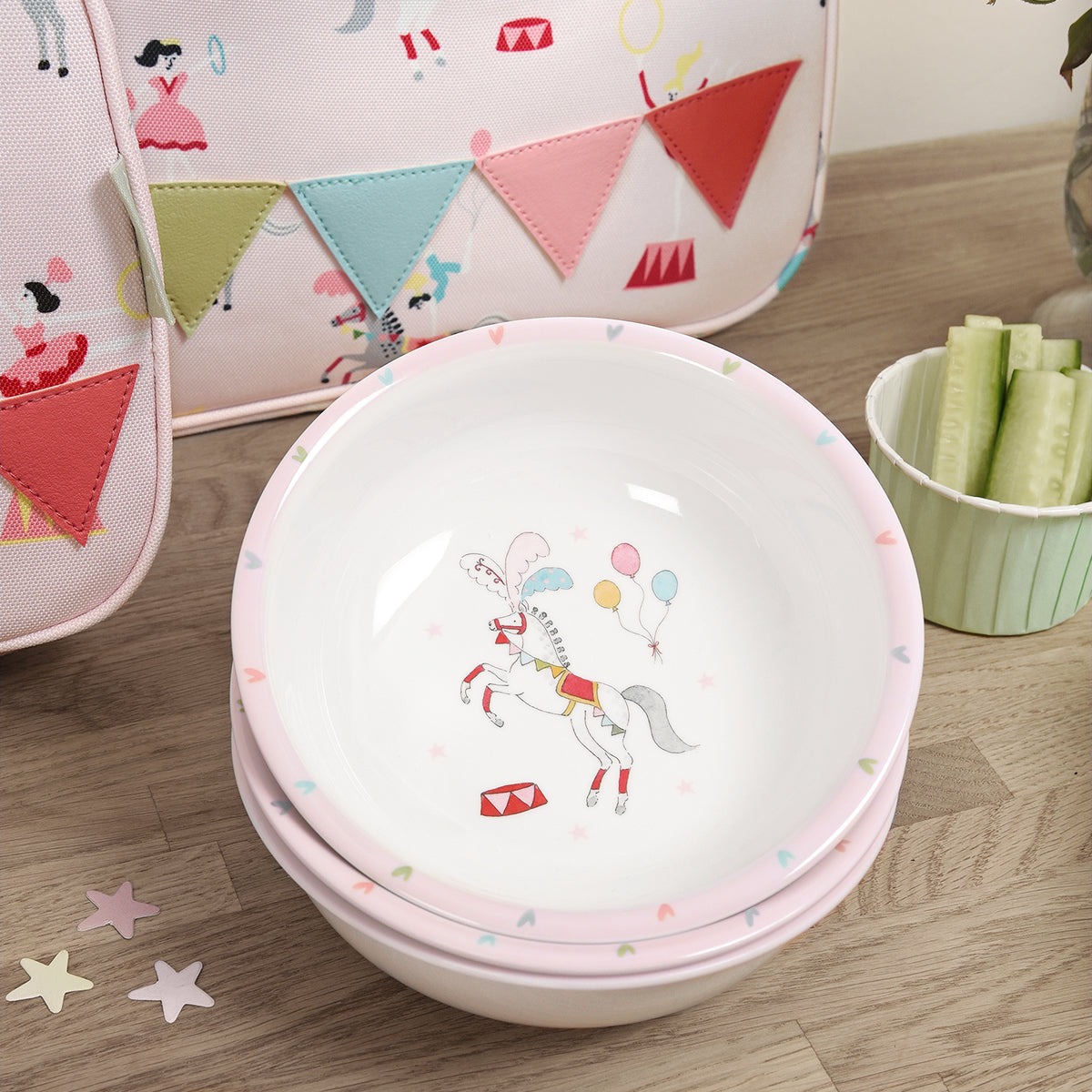 Kids melamine by Sphie Allport part of her new Fairground Ponies Collection