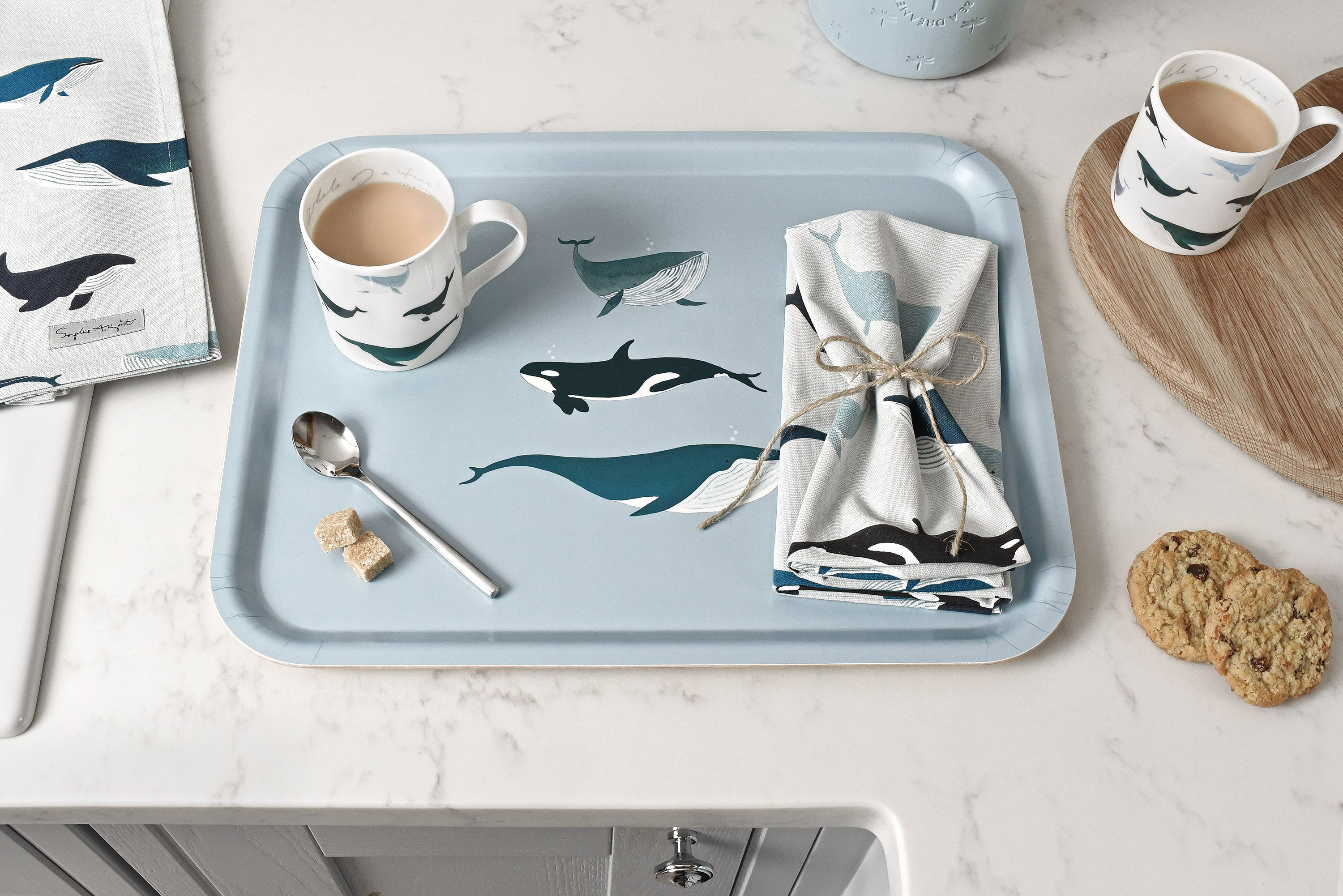 Whales printed tray and napkins by Sophie Allport