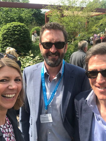 Sophie with comedian Lee Mack at Chelsea Flower Show 2019