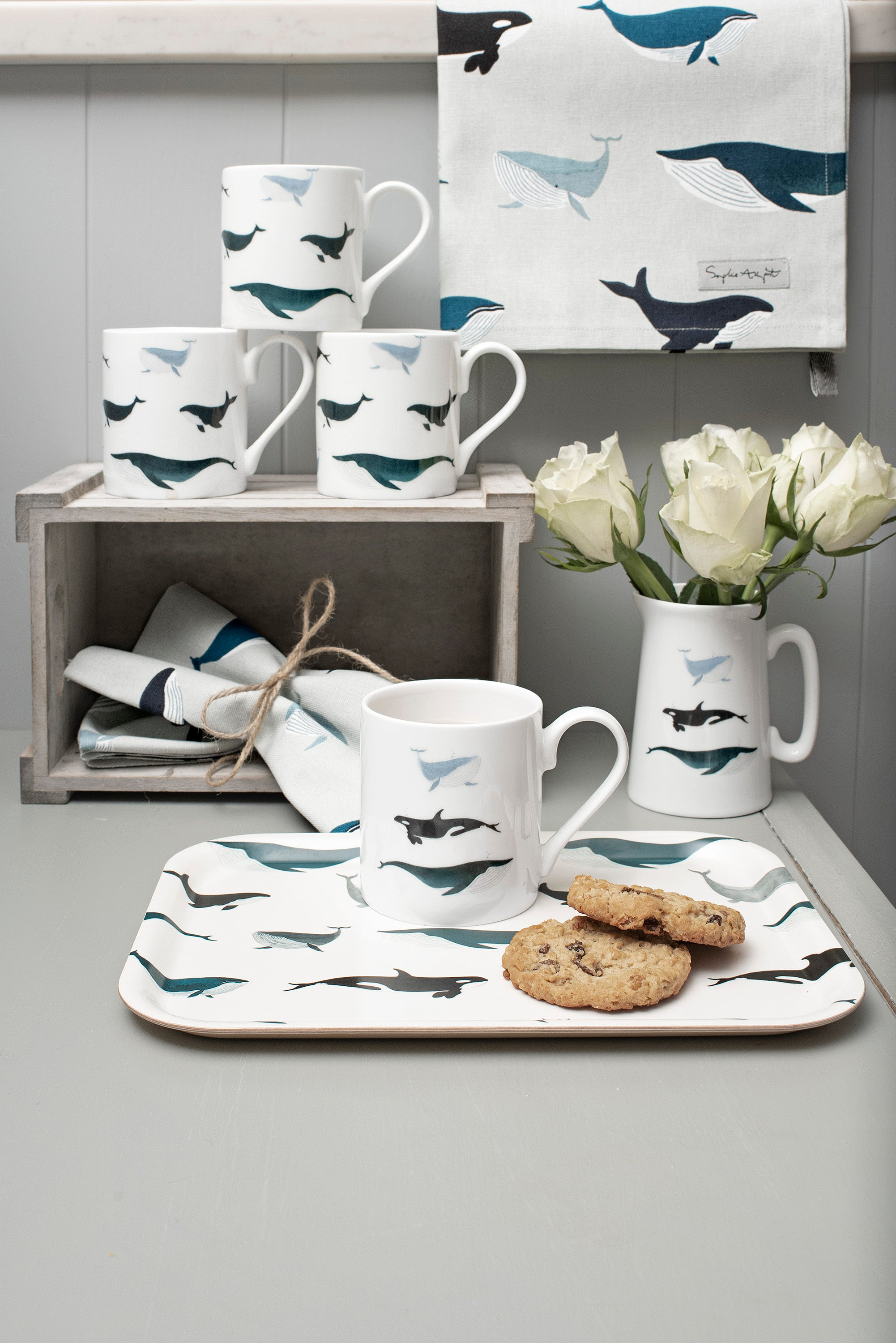 Whales fine bone china mugs and jug by Sophie Allport