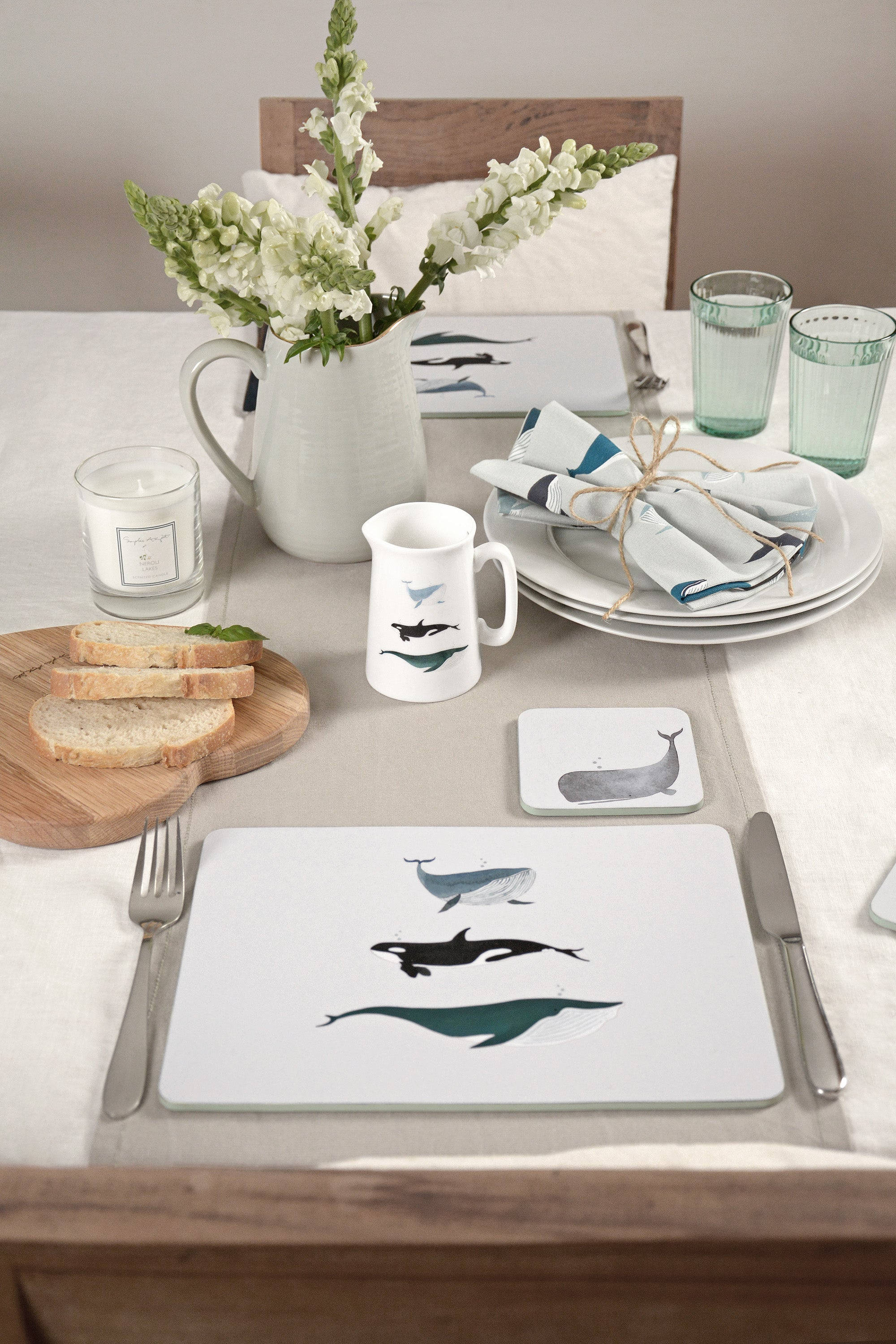 Whales coastal table setting by Sophie Allport