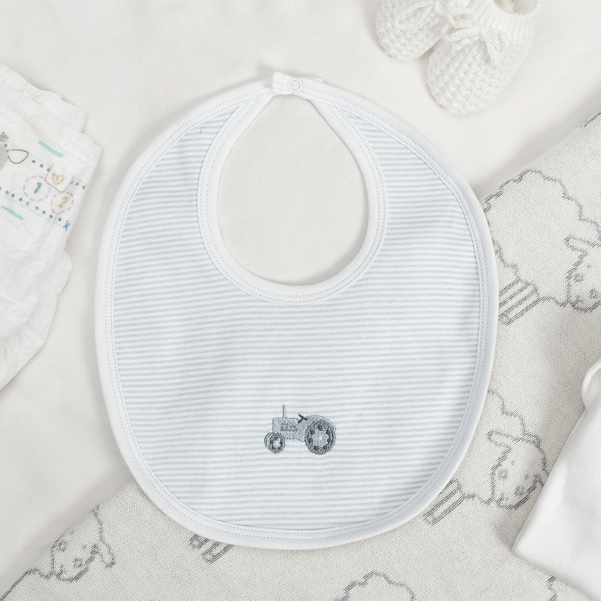 On The Farm Newborn Baby Bib by Sophie Allport