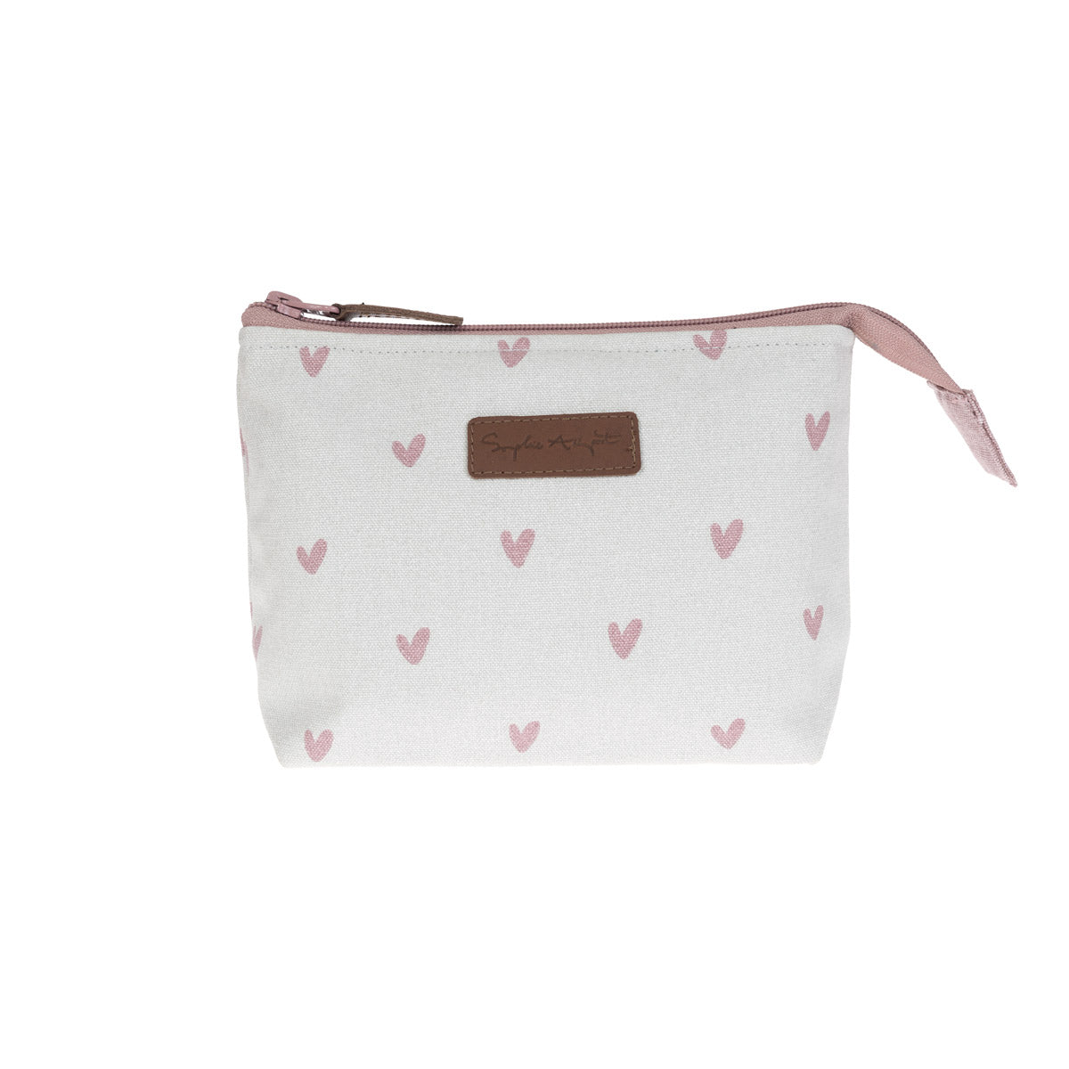 Hearts Canvas Makeup Bag - Small