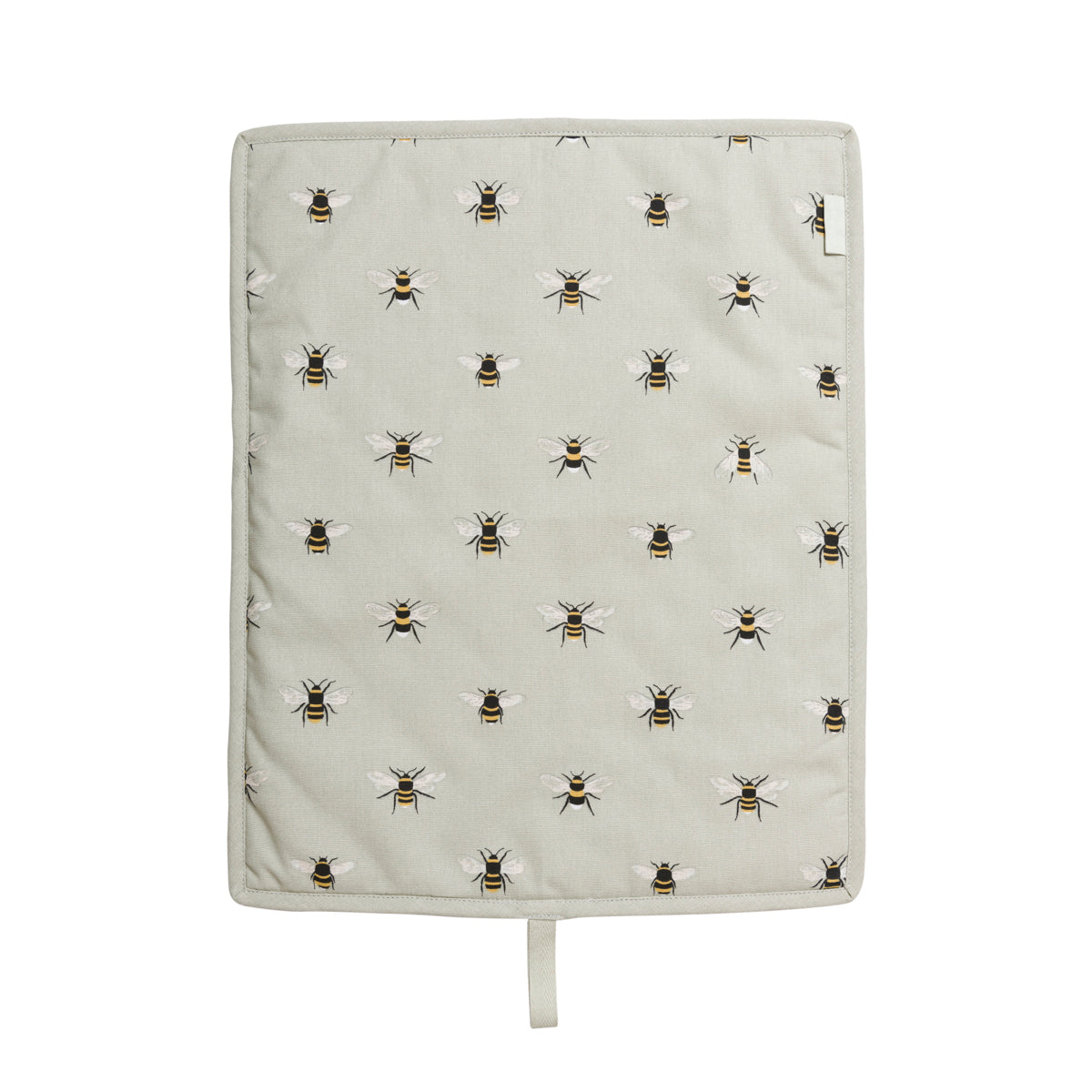 Bees buzz on a pale green background on Sophie Allport's Bee hob covers, perfect for Everhots.