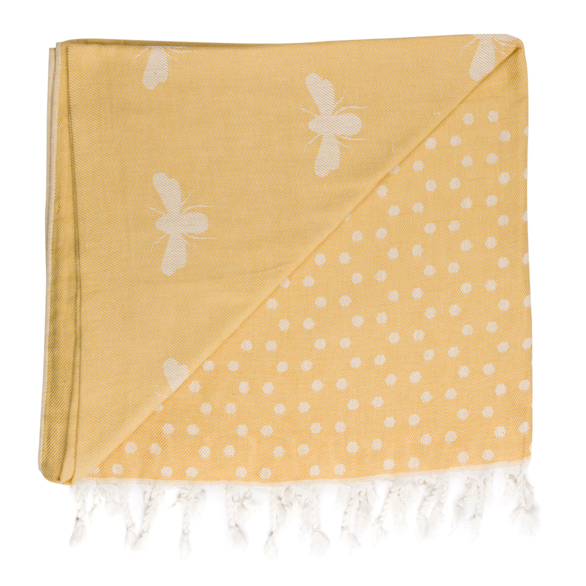 Soft yellow hammam towel in Sophie Allports Bee design.