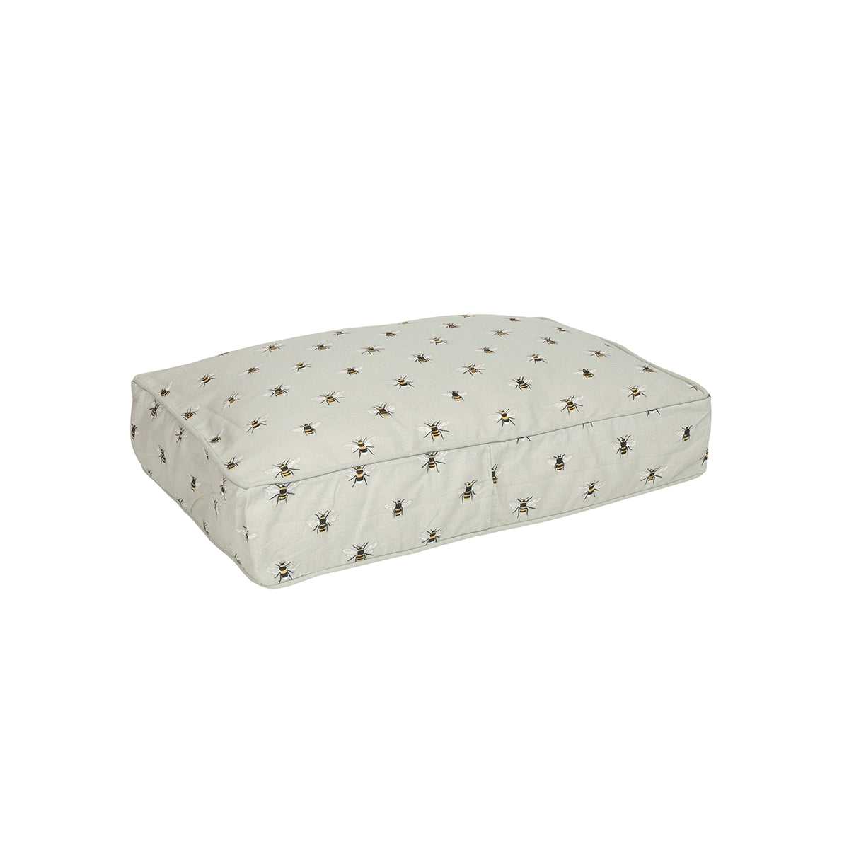 Dog mattress in Sophie Allport's bee design on a pale green background, available in three sizes.