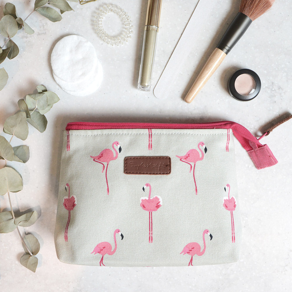 Flamingos Canvas Makeup Bag - Small