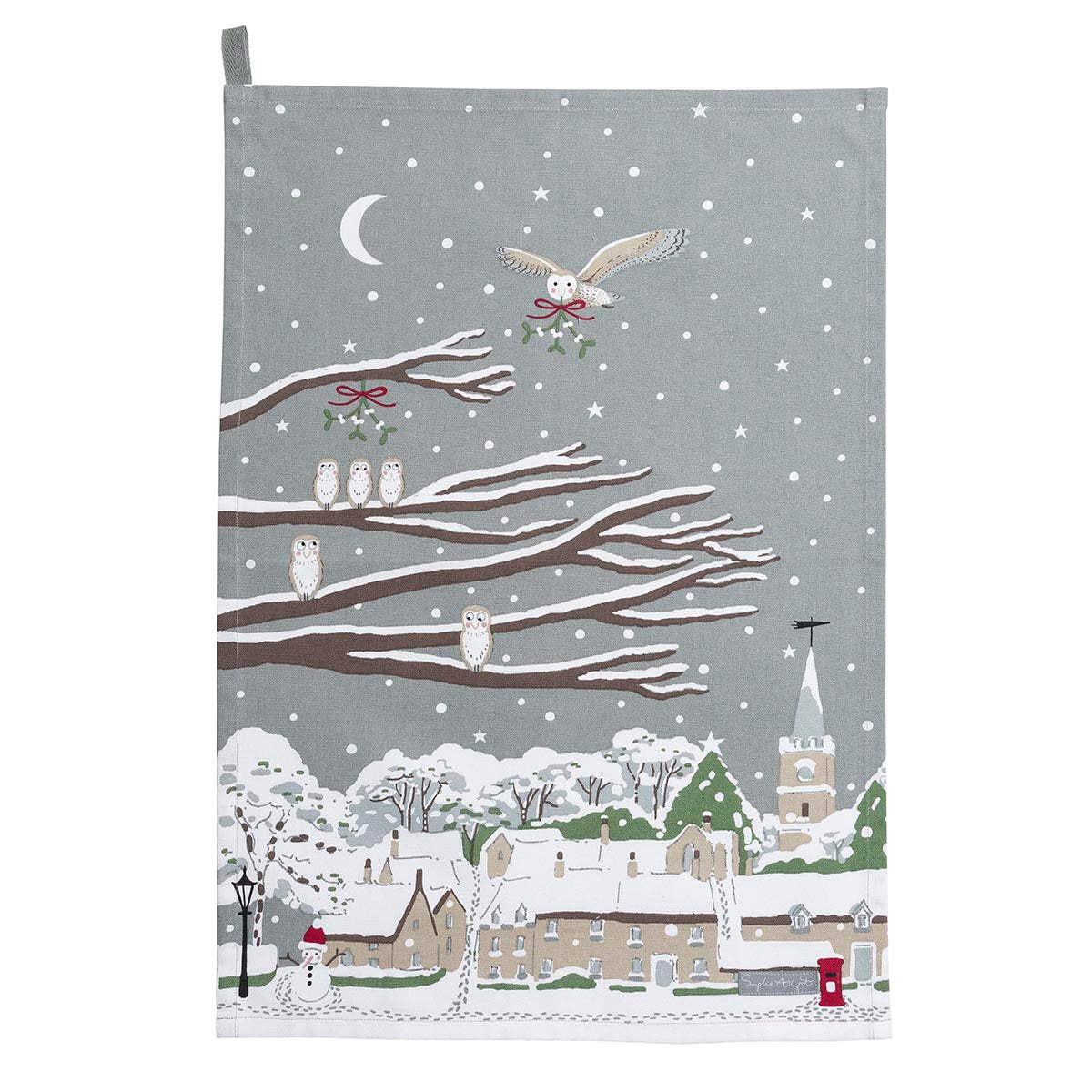 Night Owl Village Scene Tea Towel