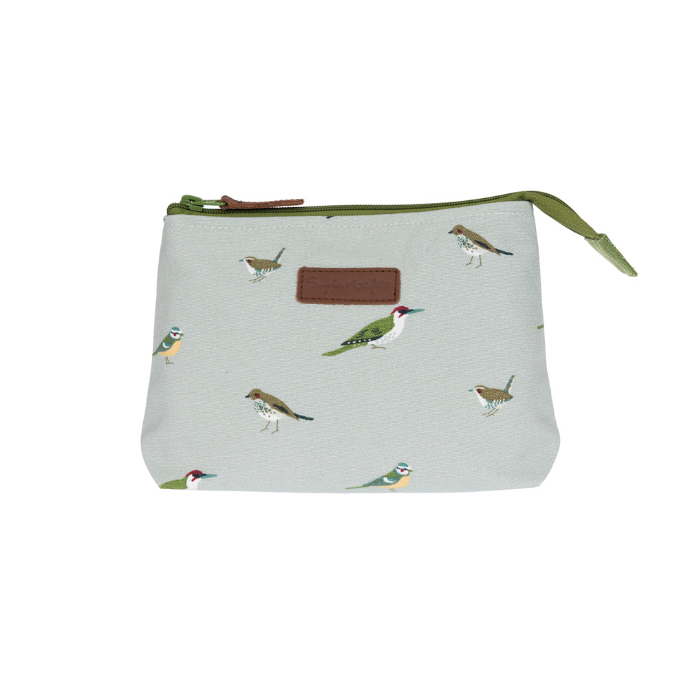 Garden Birds Canvas Makeup Bag - Small
