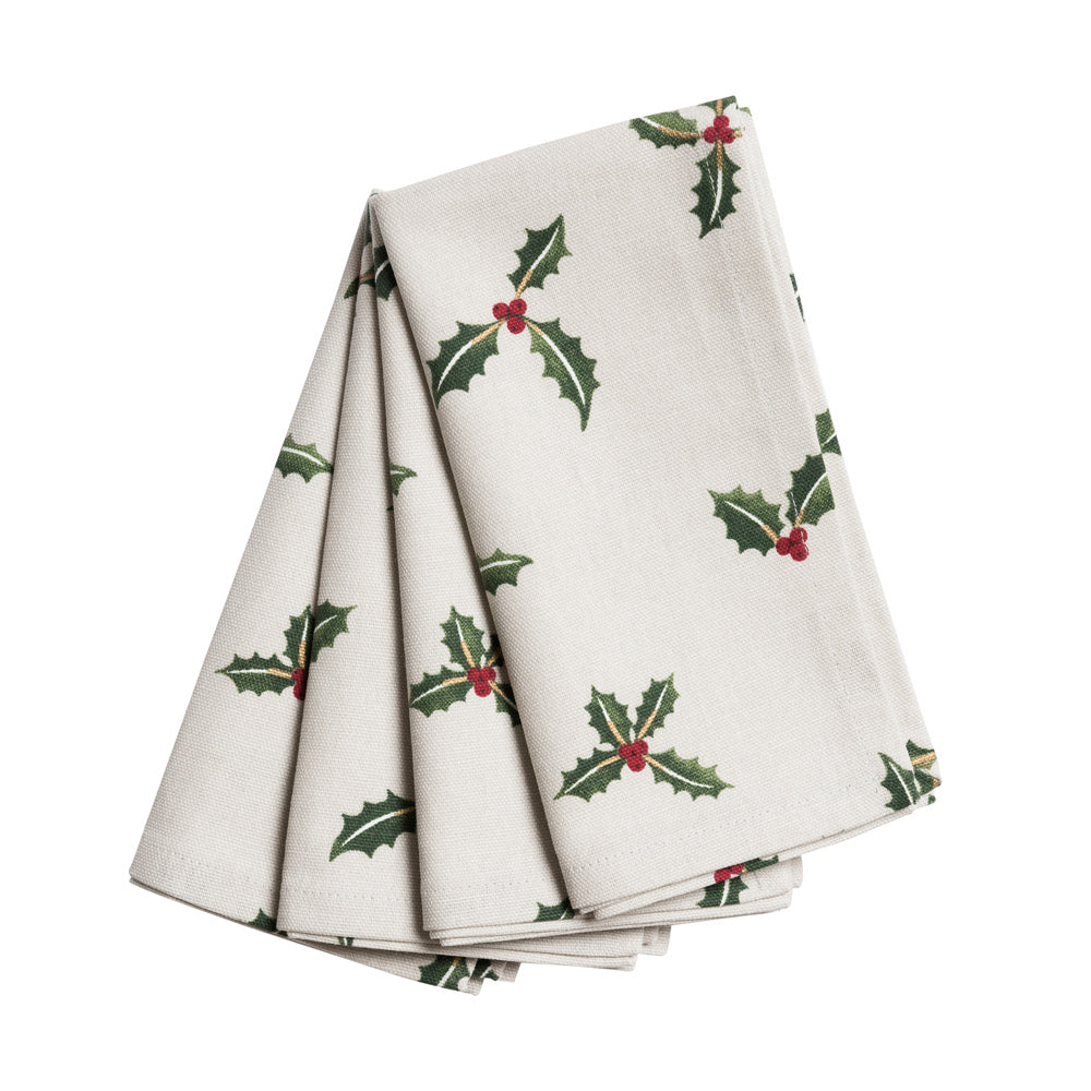 Holly & Berry Napkins (Set of 4)