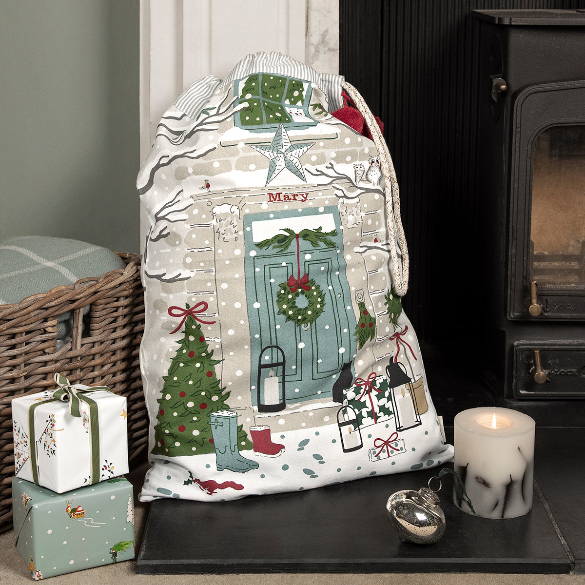 Holly & Berry Home for Christmas Sack