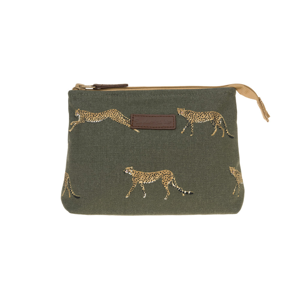 Cheetah Canvas Makeup Bag - Small