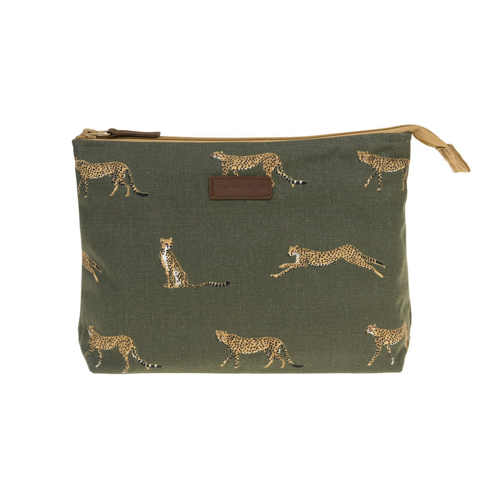 Cheetah Large Canvas Wash Bag
