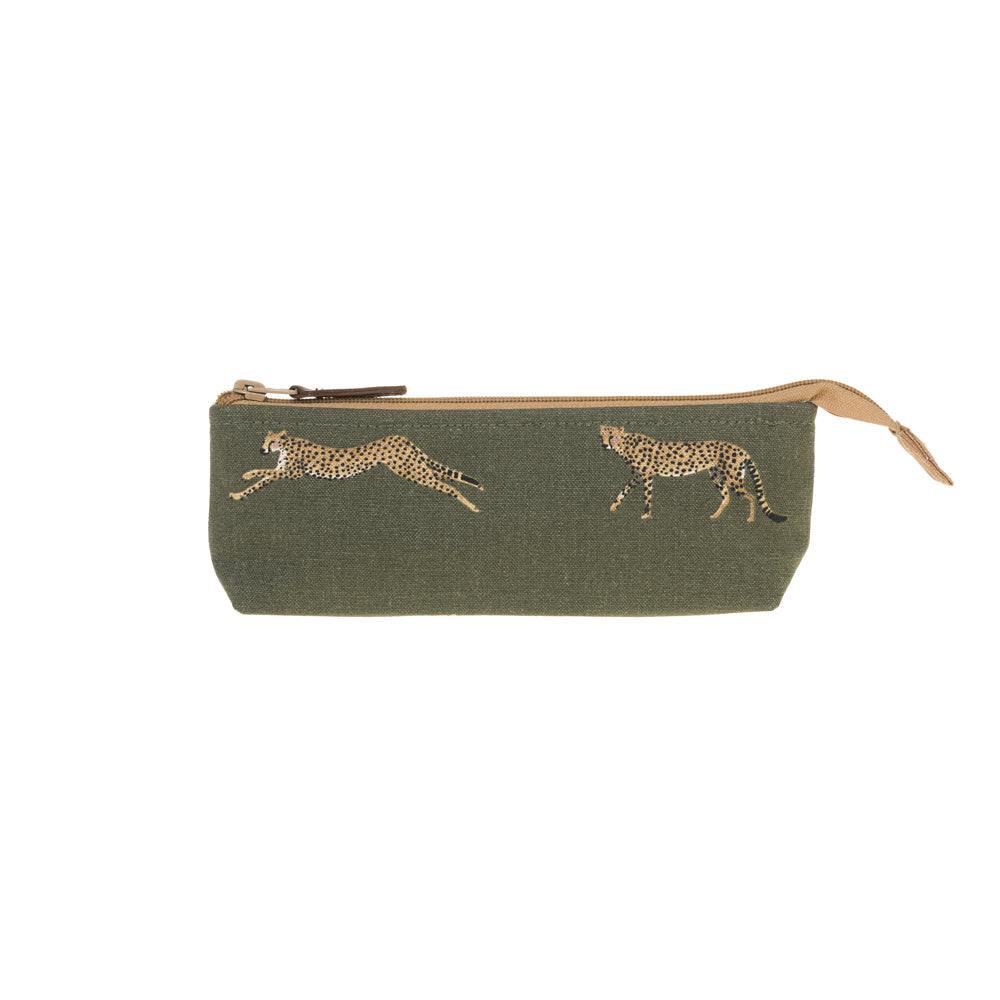 Cheetah Canvas Accessory Case