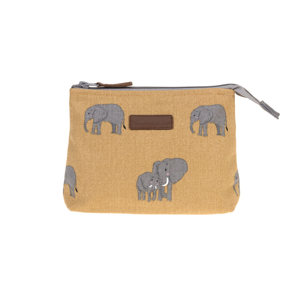 Elephant Canvas Makeup Bag - Small