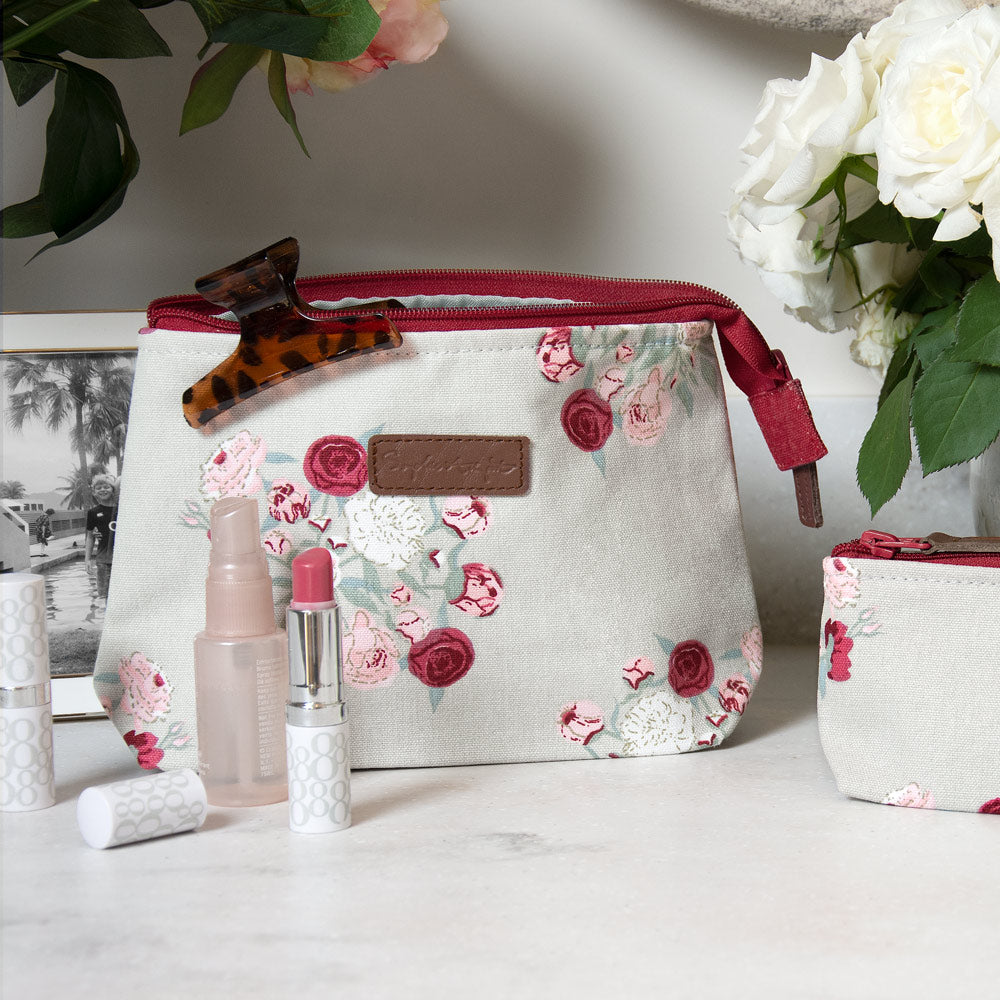Peony Small Canvas Makeup Bag