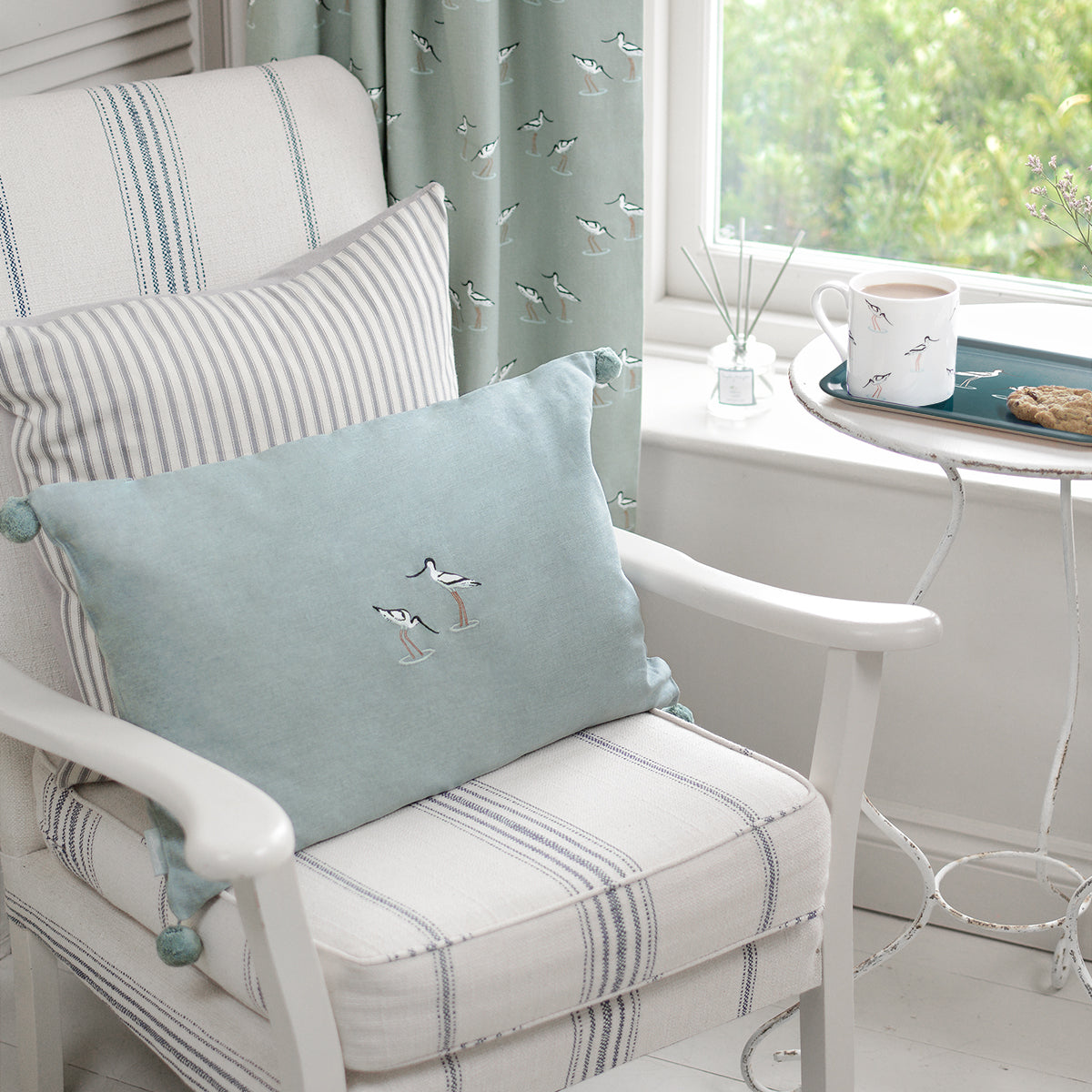 Sea Blue Green Embroidered Cushion Part of Sophie Allport's Coastal Collection