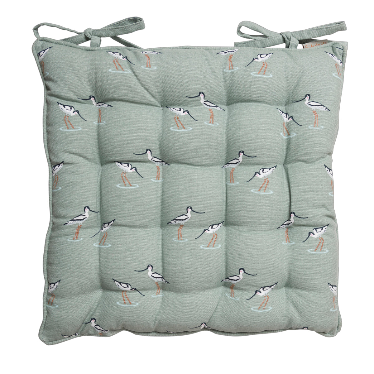 Coastal Birds chair pad with ties by Sophie Allport