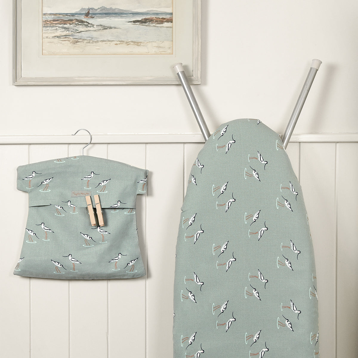 Sophie Allport Peg Bag in her Coastal Birds design with wooden hanger