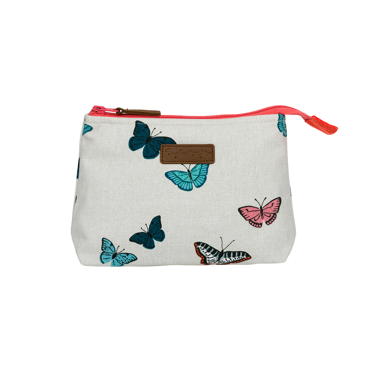 Makeup bag by Sophie Allport covered in colourful butterflies.