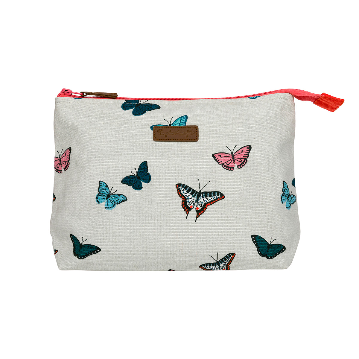 Sophie Allport Butterflies Wash Bag covered in colourful butterflies on a neutral background.
